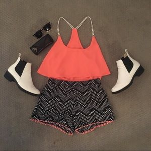 Charlotte Russe Matching Two Piece Shorts And Tank